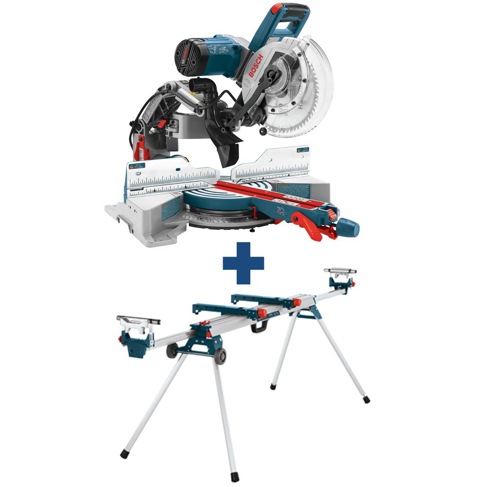 Bosch 15 Amp Corded 10 in. Dual-Bevel Sliding Glide Miter Saw with 60-Tooth Saw Blade with Bonus 32-1/2 in. Folding Leg Stand