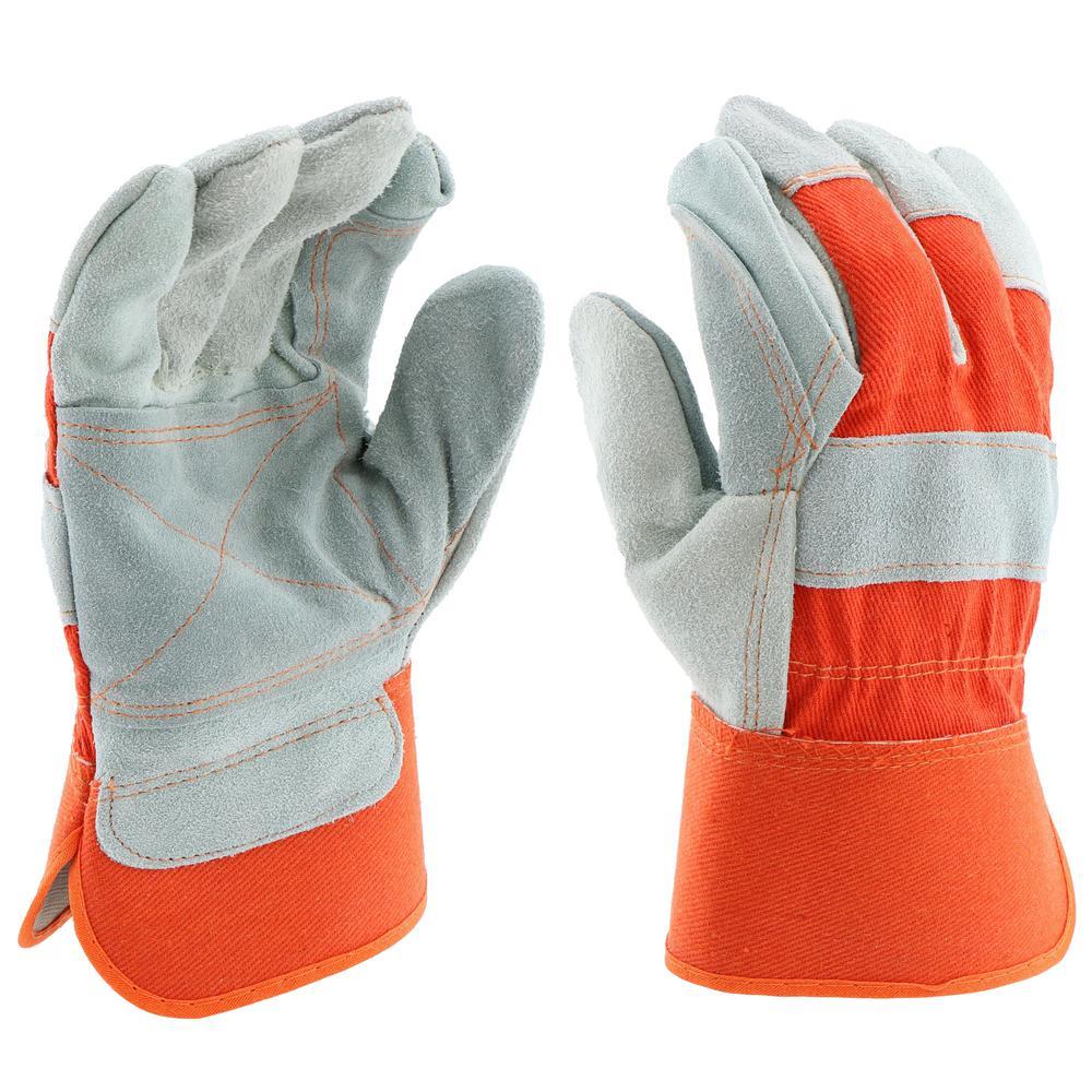 Large Split Cowhide Leather Palm Work Gloves