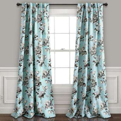 Tania Floral Window Panel in Blue - 84 in. L x 52 in. W (2-Piece)