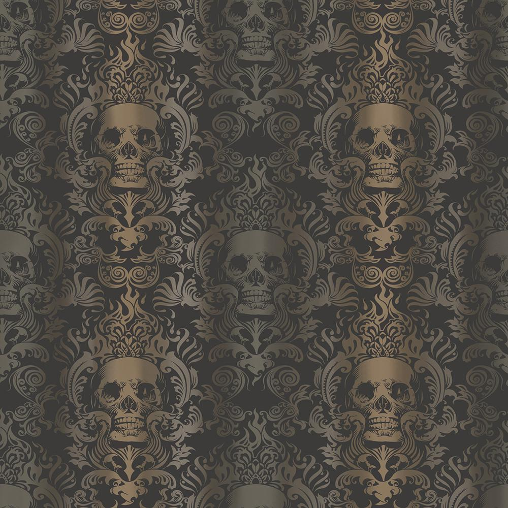 Chesapeake Luther Sand Skull Modern Damask Wallpaper