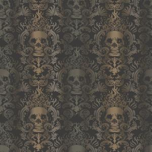Chesapeake Luther Sand Skull Modern Damask Wallpaper by Chesapeake