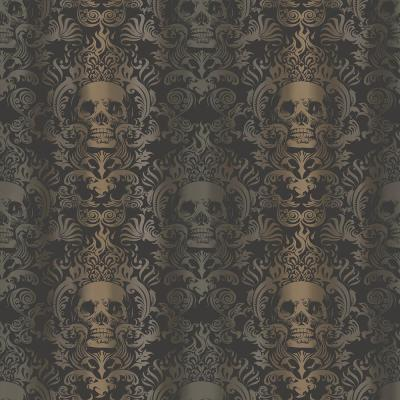 Luther Sand Skull Modern Damask Wallpaper