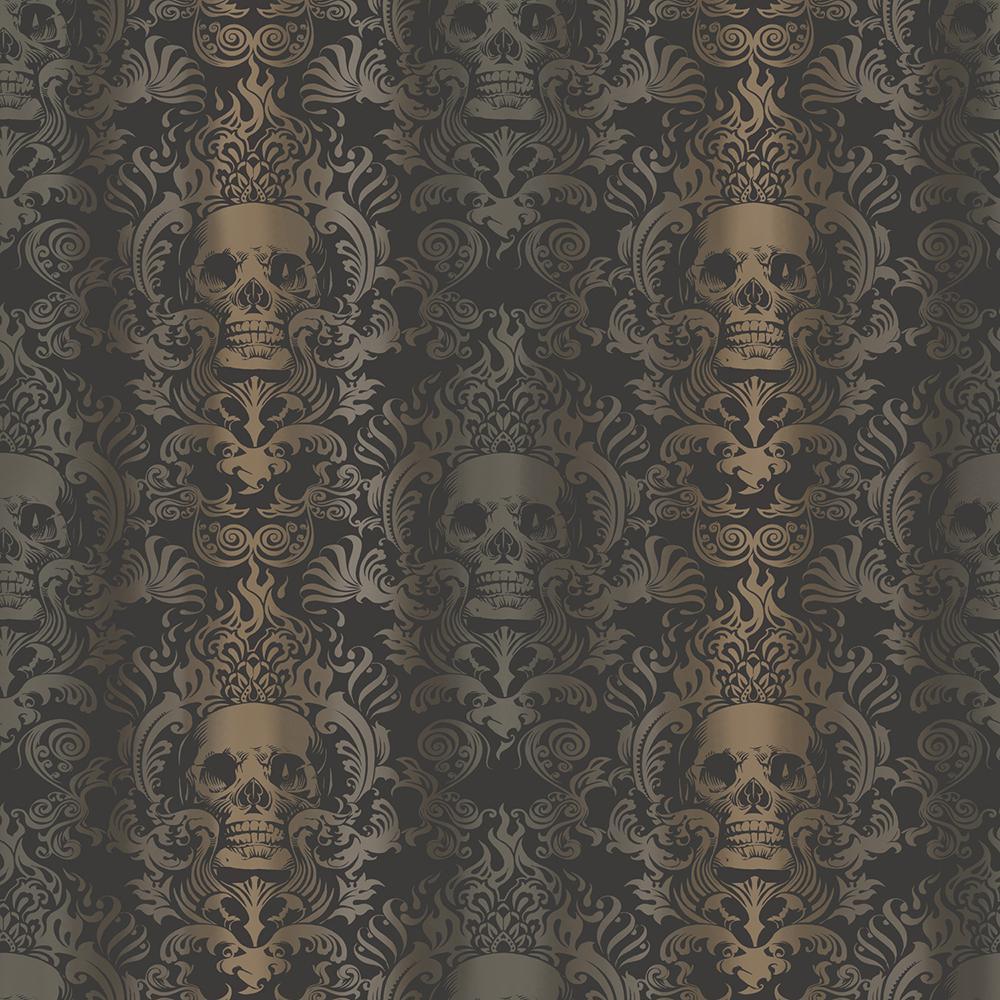 Chesapeake Luther Sand Skull Modern Damask Wallpaper