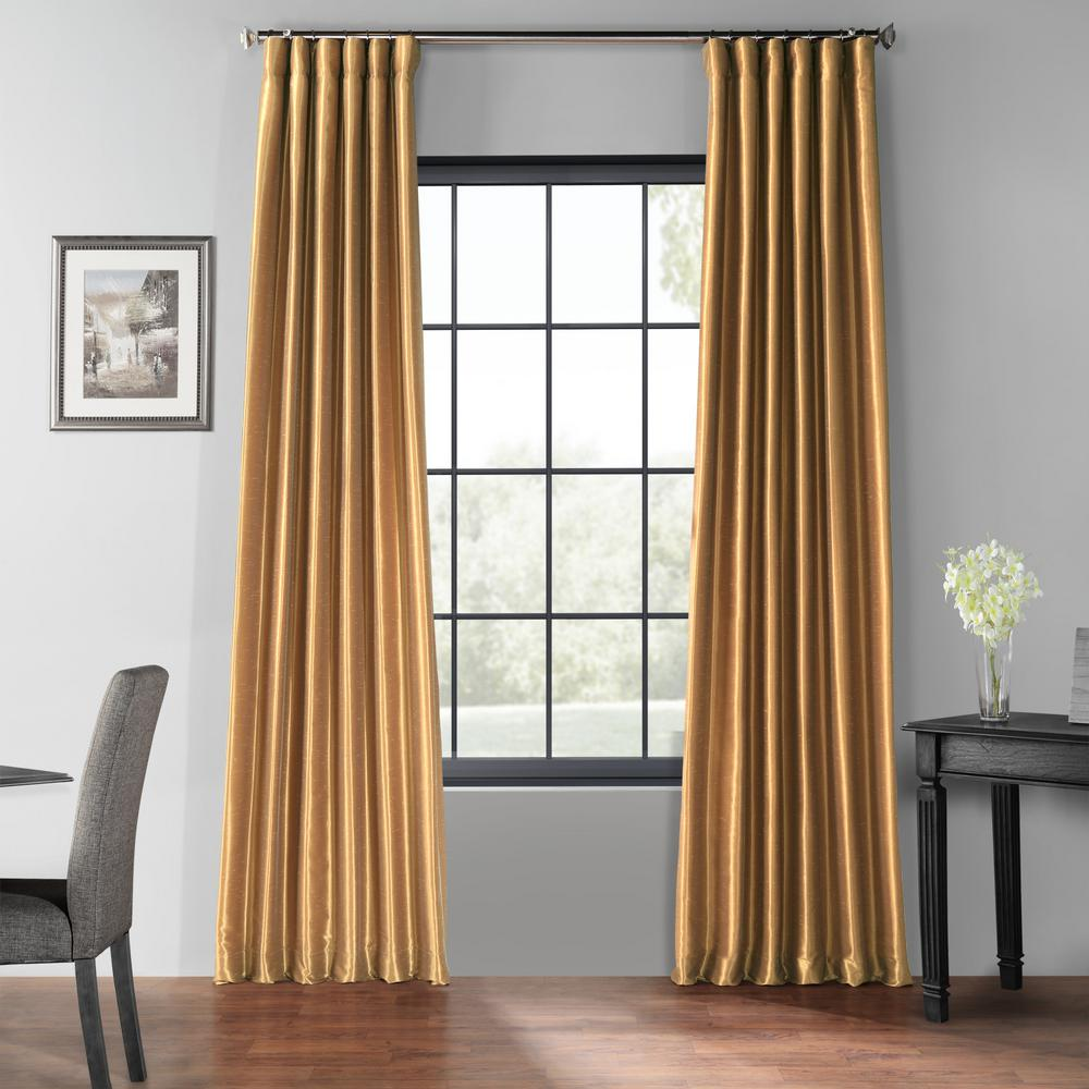 Exclusive Fabrics & Furnishings Flax Gold Blackout Vintage Textured Faux Dupioni Curtain - 50 in. W x 108 in. L