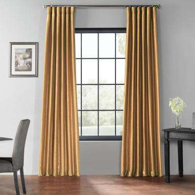 Flax Gold Blackout Vintage Textured Faux Dupioni Curtain - 50 in. W x 96 in. L