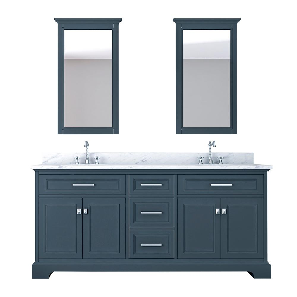 Design Element Laxton 73 in. W x 22 in. D Bath Vanity in Gray with Marble Vanity Top in White with White Basin and Mirror