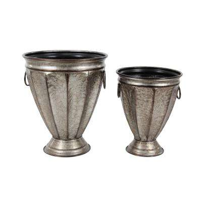 20 in. x 17 in. Rustic Iron Silver Bell-Shaped Planters (Set of 2)