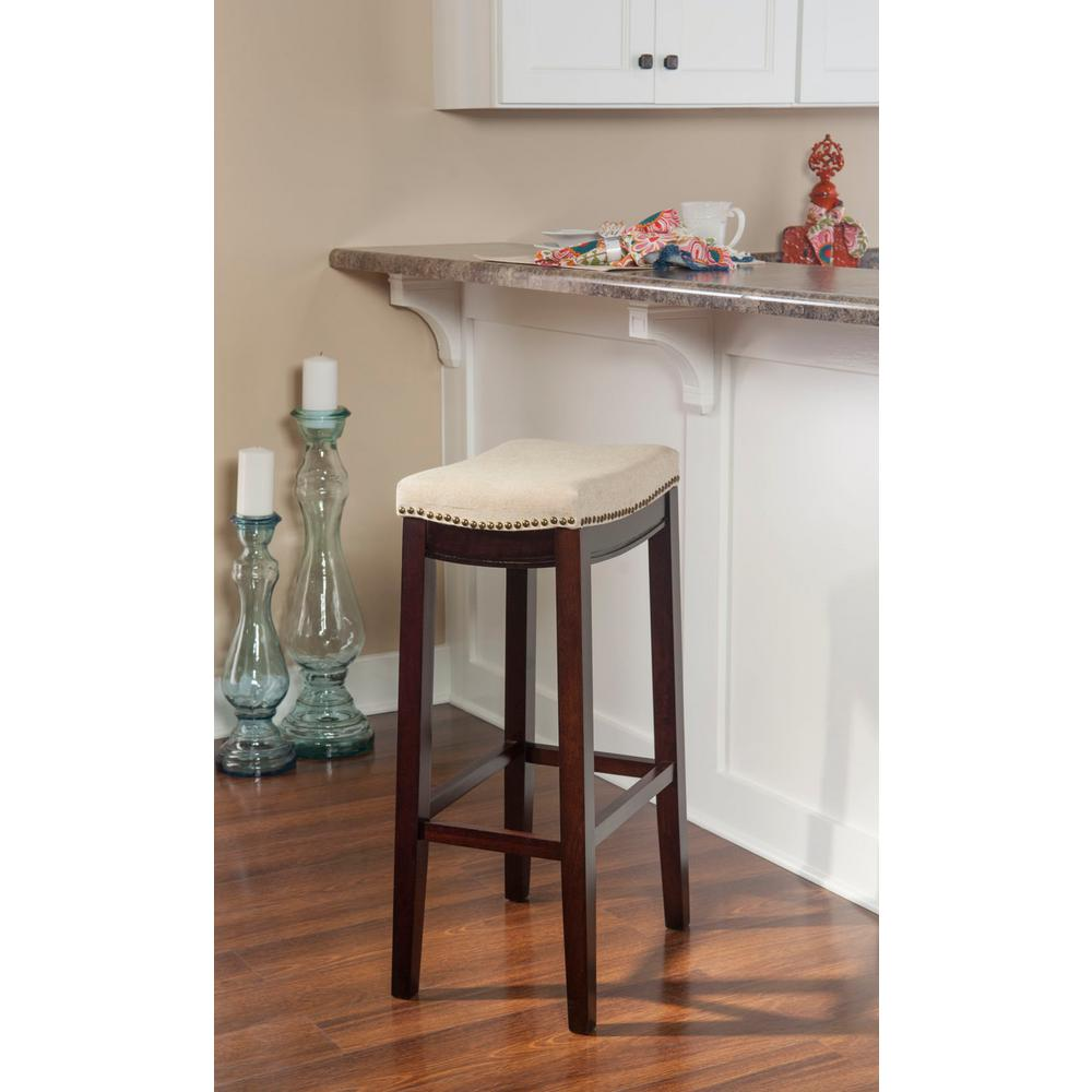 Linon Home Decor Claridge 32 In Beige Cushioned Bar Stool