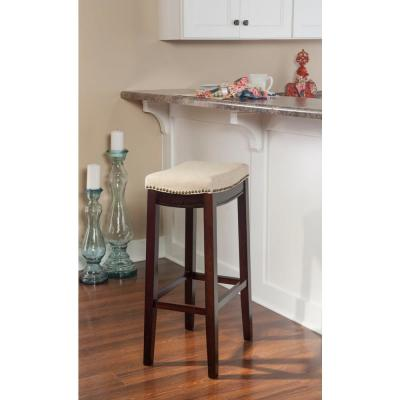 Claridge 32 in. Beige Cushioned Bar Stool