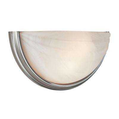 Crest 1 Light Satin LED Sconce with Alabaster Glass Shade