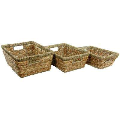 Oriental Furniture 14 in. x 5.75 in. Hand Woven Set of Three Open Tote Trays