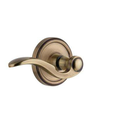 Georgetown Plate 2-3/4 in. Backset Vintage Brass Passage Hall/Closet with Bellagio Door Lever