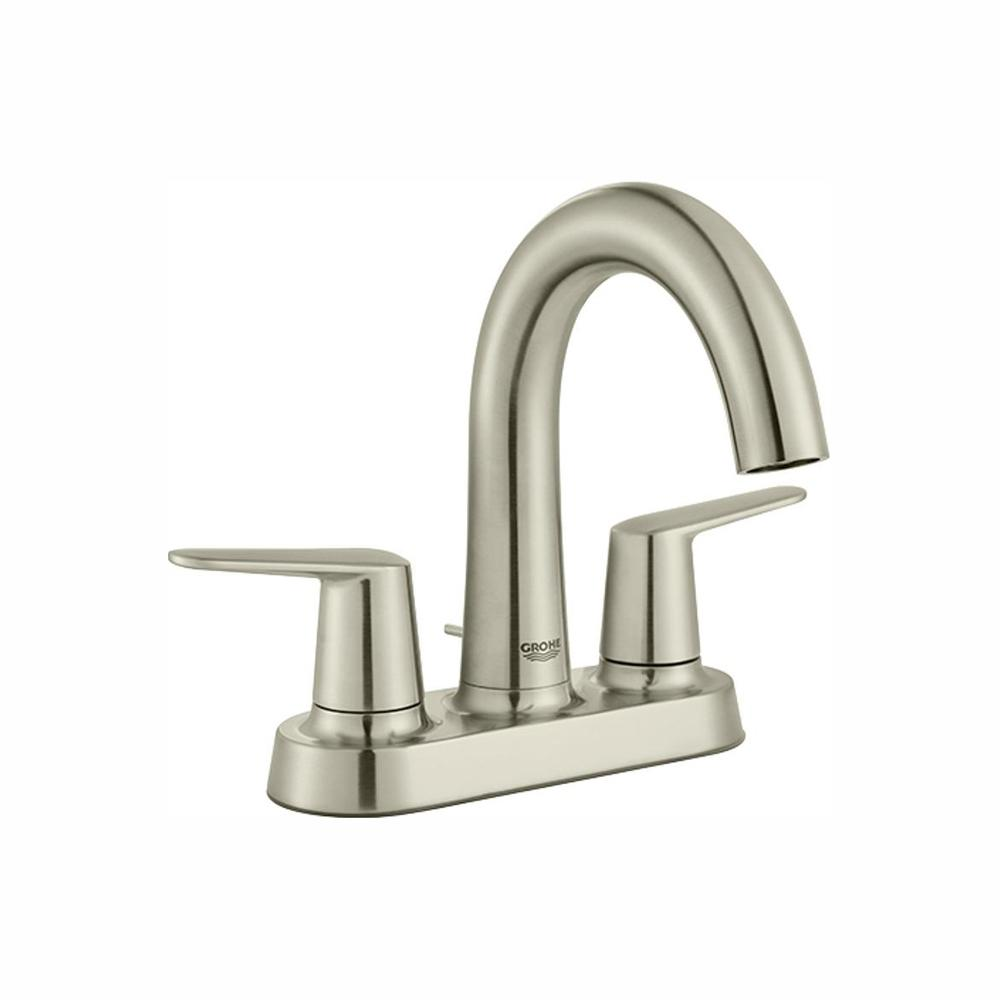GROHE Veletto 4 in. Centerset 2-Handle High-Spout Bathroom Faucet in Brushed Nickel