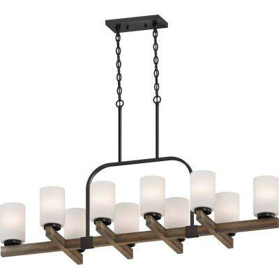 Tara 10-Light Walnut Chandelier with Etched White Cased Glass