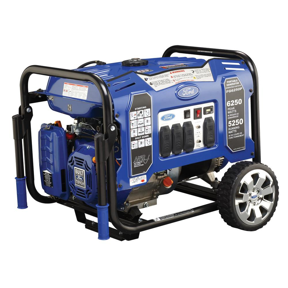 5,250-Watt Gasoline Powered Manual Start Portable Generator