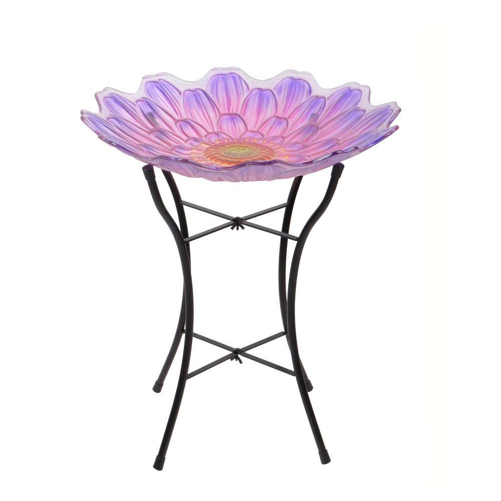 18 in. Pink and Purple Glass Outdoor Flower Birdbath