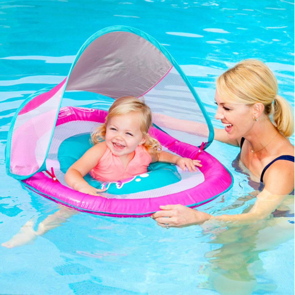 SwimWays Infant Baby Spring Float Pink Canopy
