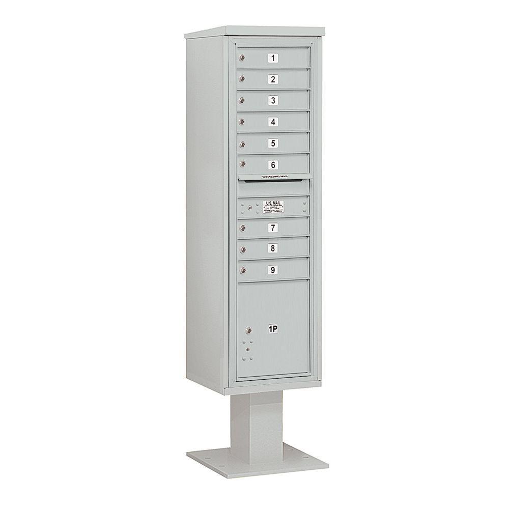 3400 Series Gray Mount 4C Pedestal Mailbox with 9 MB1 Doors/1 PL