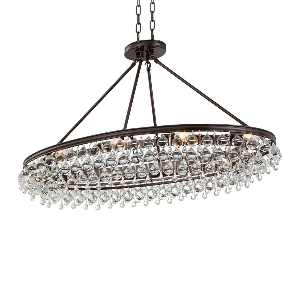 Calypso 8-Light Crystal Teardrop Vibrant Bronze Oval Chandelier