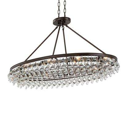 Calypso 8-Light Crystal Teardrop Vibrant Bronze Oval Chandelier