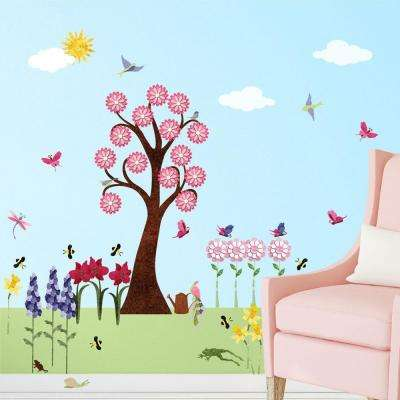 Flower Multi Peel And Stick Removable Wall Decals Garden Theme Mural  (41 Piece Set)