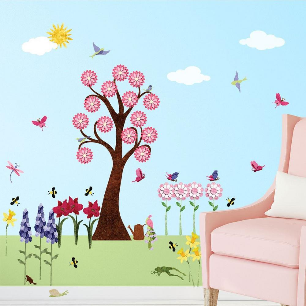 Flower Multi Peel And Stick Removable Wall Decals Garden Theme Mural  (41 Piece Set