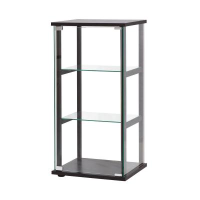3-Shelf Black and Clear Glass Curio Cabinet