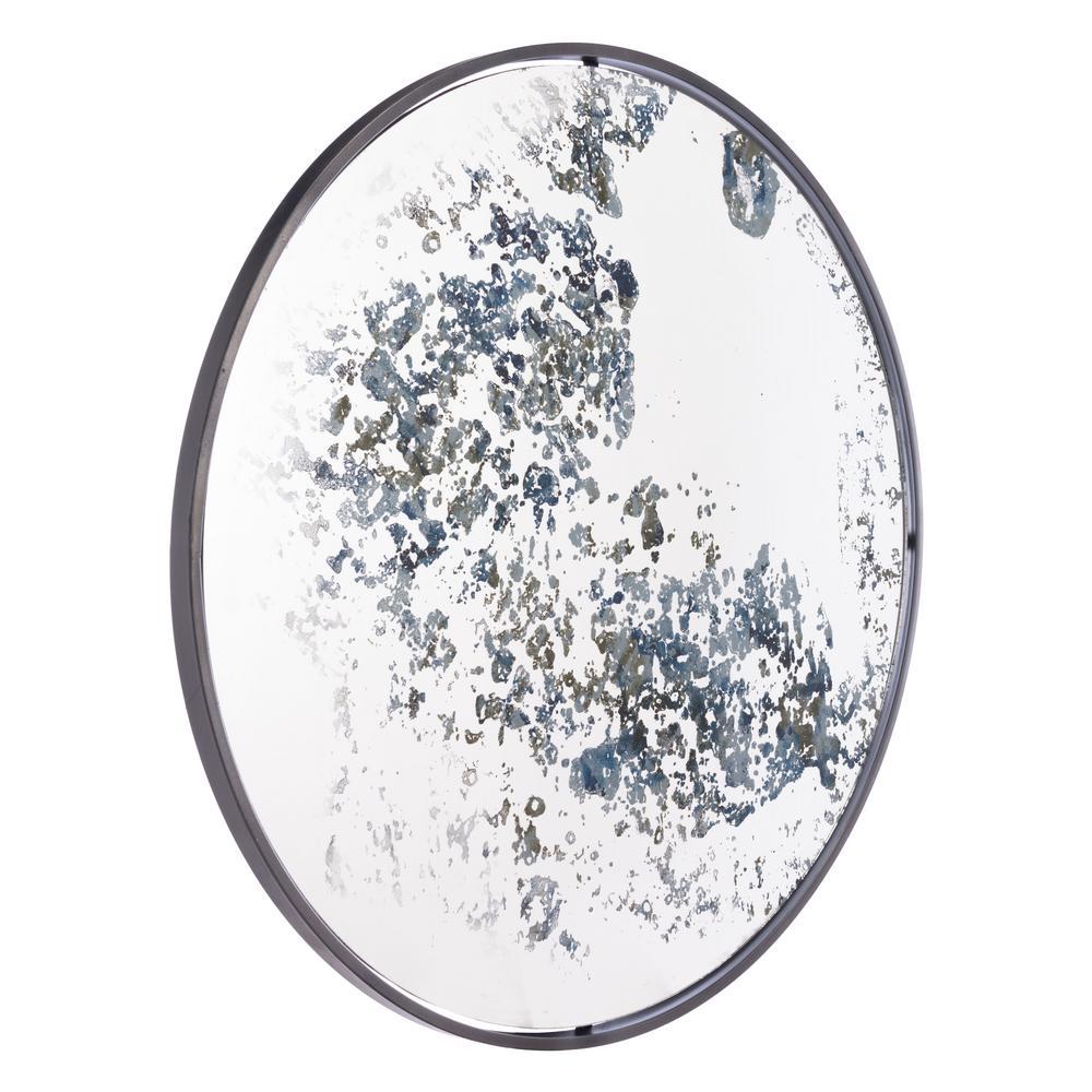 Round Antique Blue Wall Mirror