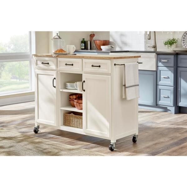Home Decorators Collection Home Decorators Collection Ivory Kitchen Cart With Butcher Block Top Sk19304dr1 V The Home Depot
