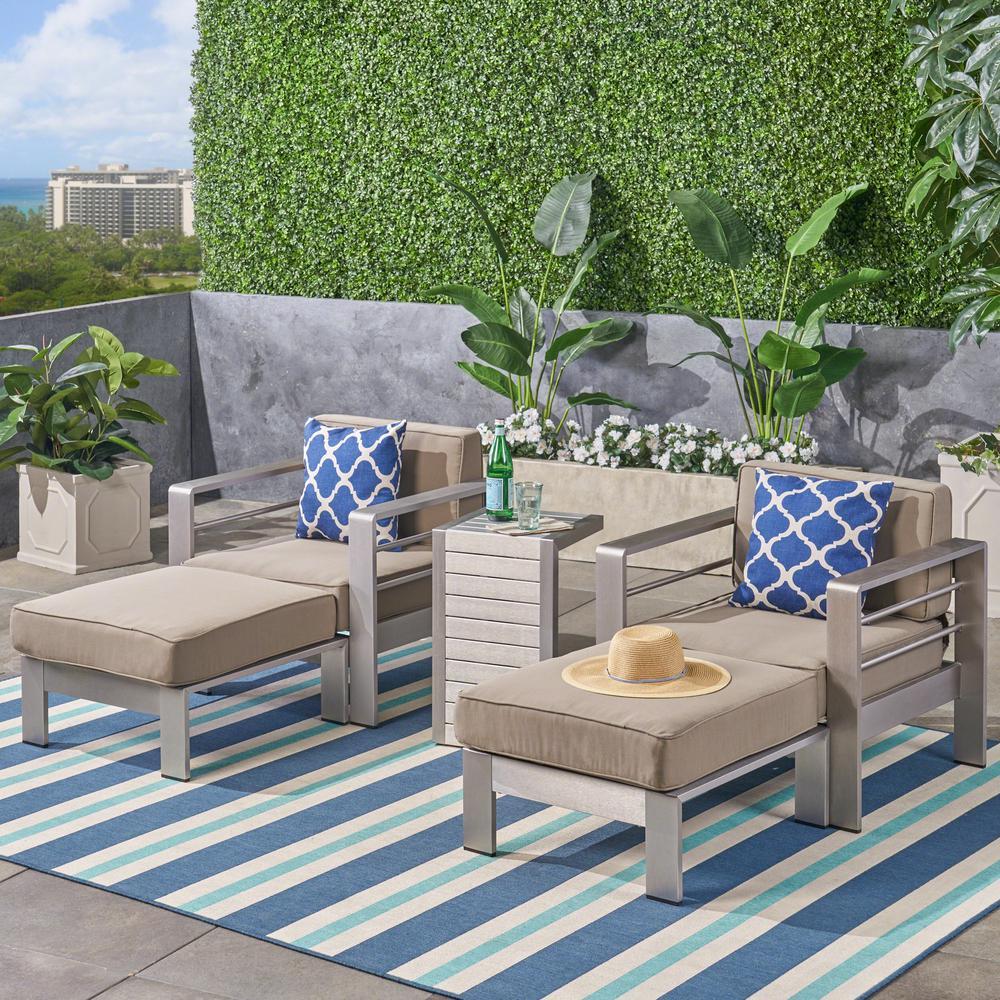 Cape Coral Silver 5-Piece Aluminum Patio Conversation Set with Khaki Cushions