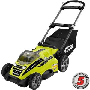 Ryobi 20 inch 40-Volt Brushless Lithium-Ion Cordless Battery Walk Behind Push Lawn Mower 5.0 Ah Battery and... by Ryobi