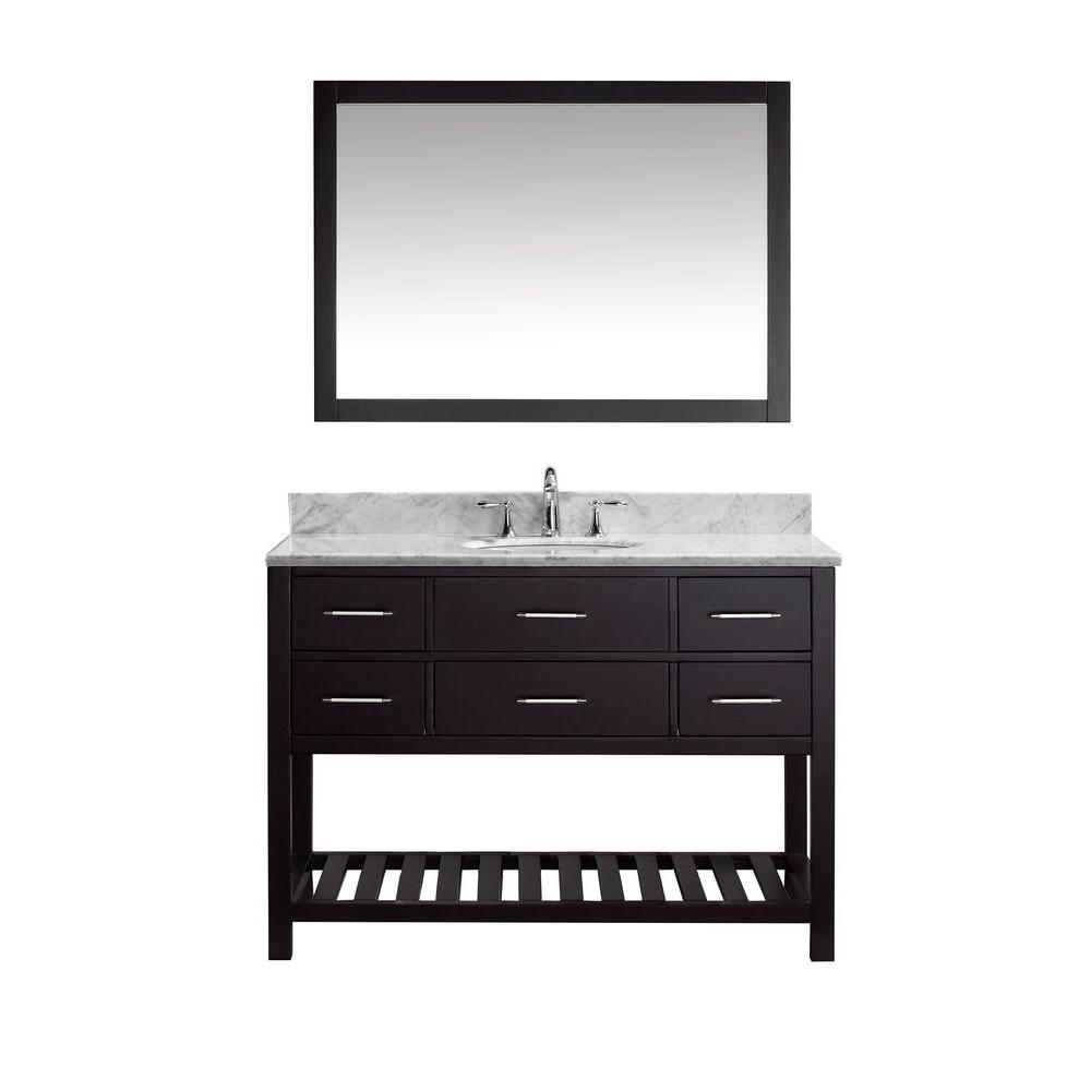 Virtu Usa Caroline Estate 49 In W Bath Vanity In Espresso With Marble Vanity Top In White With Round Basin And Mirror Ms 2248 Wmro Es The Home Depot