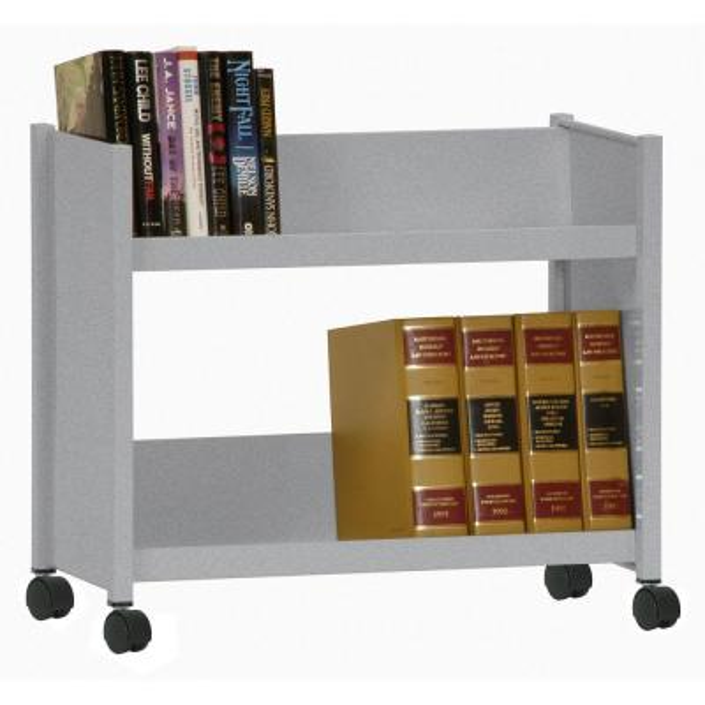 Sloped 2-Shelf Welded Booktruck in Multi-Granite
