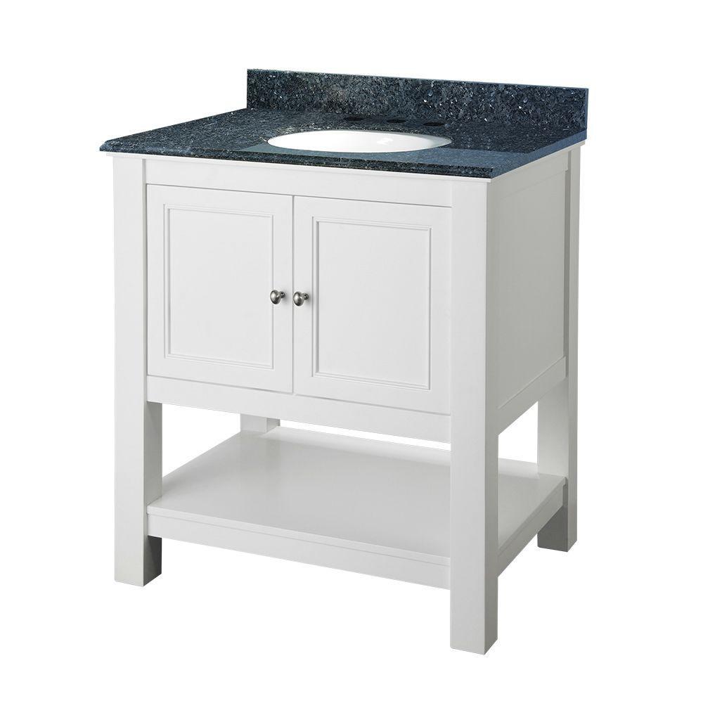 Gazette 30 in. Vanity in White with Granite Vanity Top in Blue Pearl