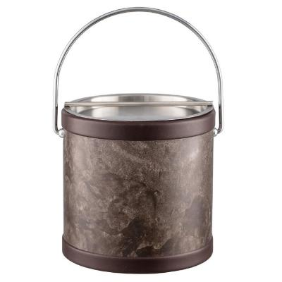 Quarry Tunisia Stone 3 Qt. Ice Bucket with Bale Handle and Metal Bar Lid