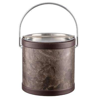 Tunisia Stone 3 Qt. Brown Ice Bucket with Bale Handle and Metal Bar Lid