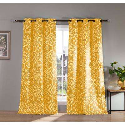 "Geometric Velveeta Polyester Blackout Grommet Window Curtain 38 in. W x"" 84 in. L 2-Pack"