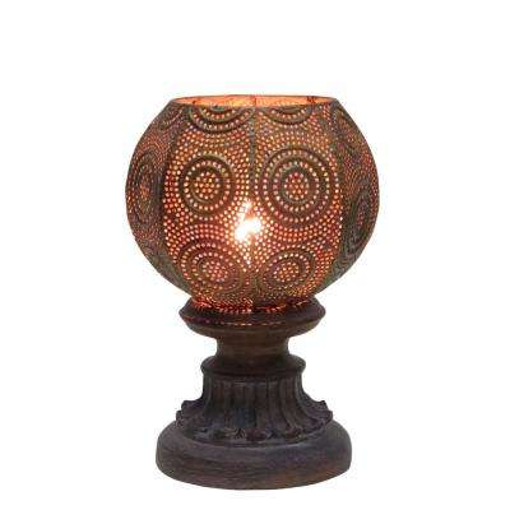 9 in. Brown Moroccan Circle Weave Metal Uplight