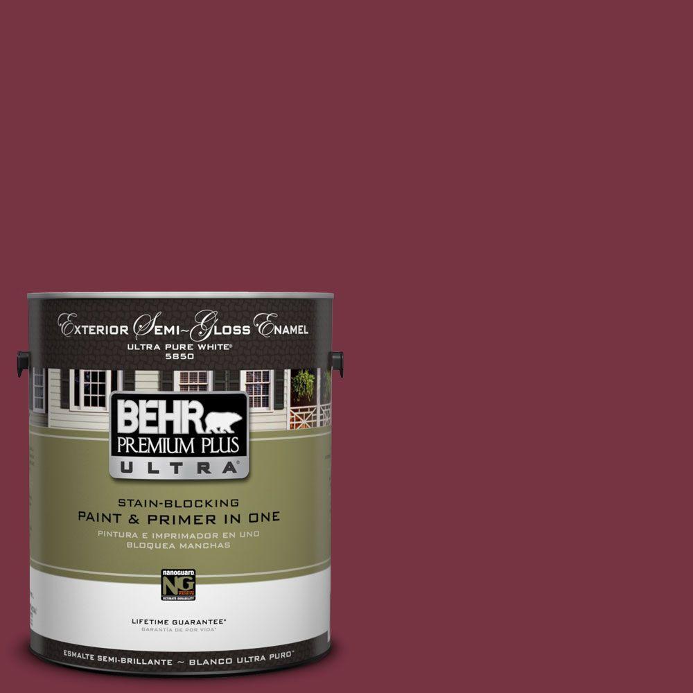 BEHR Premium Plus Ultra 1-Gal. #UL100-4 Cranberry Semi-Gloss Enamel Exterior Paint