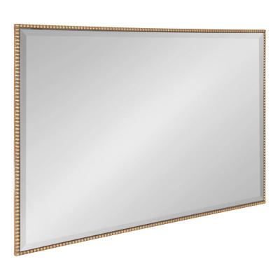 Medium Rectangle Gold Beveled Glass Modern Mirror (36 in. H x 24 in. W)