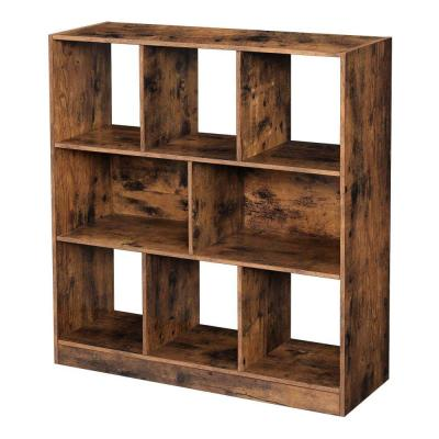 Distressed 37.2 in. H Brown Wooden Bookcase with Open Cubes and Shelves