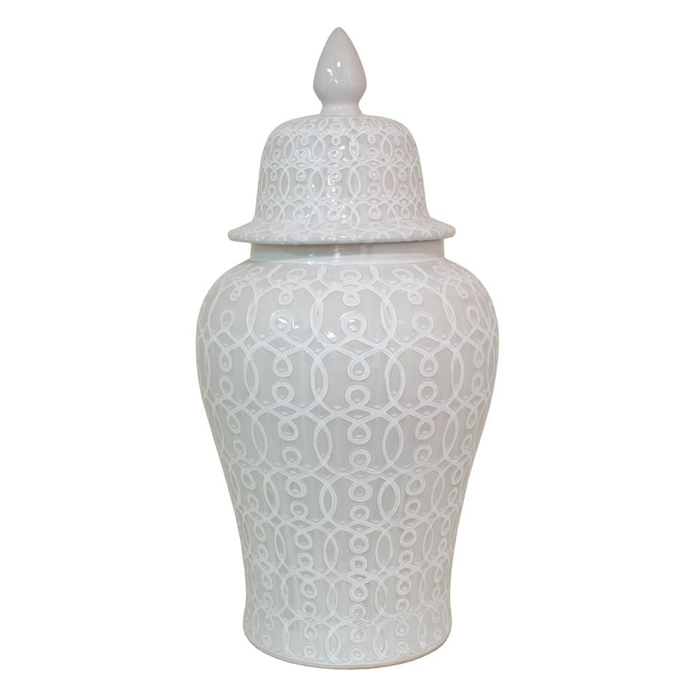 White Ceramic Temple Jar