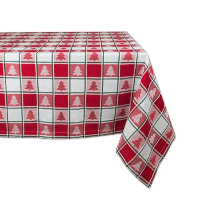 Christmas 60 in. x 84 in. Red Checkered Cotton Tablecloth