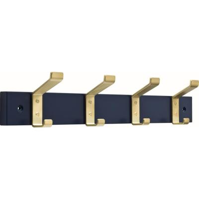 18 in. Blue and Brushed Brass Classic Bent Hook Rack