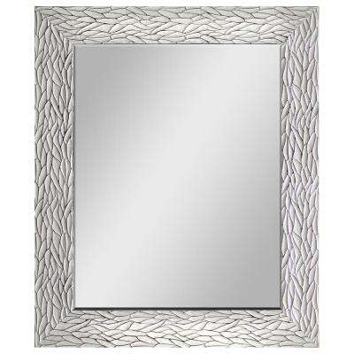 29.5 in. x 35.5 in. White with Silver Decorative Mirror