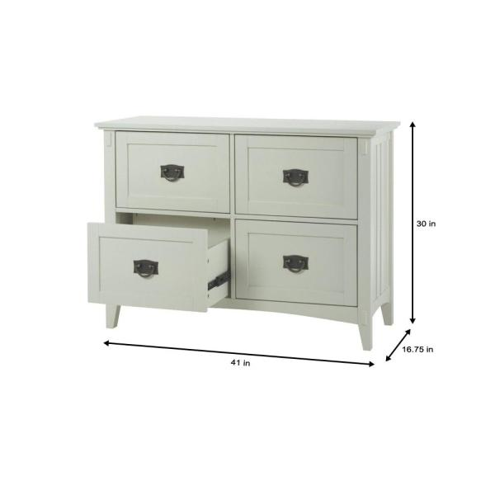 White 4 Drawer File Cabinet