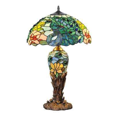 26 in. Multi-Colored Indoor Table Lamp with Stained Glass Fantastic Feodora Shade and Lit Base