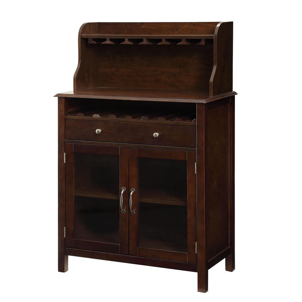 Hudson 8-Bottle Dark Walnut Bar Cabinet
