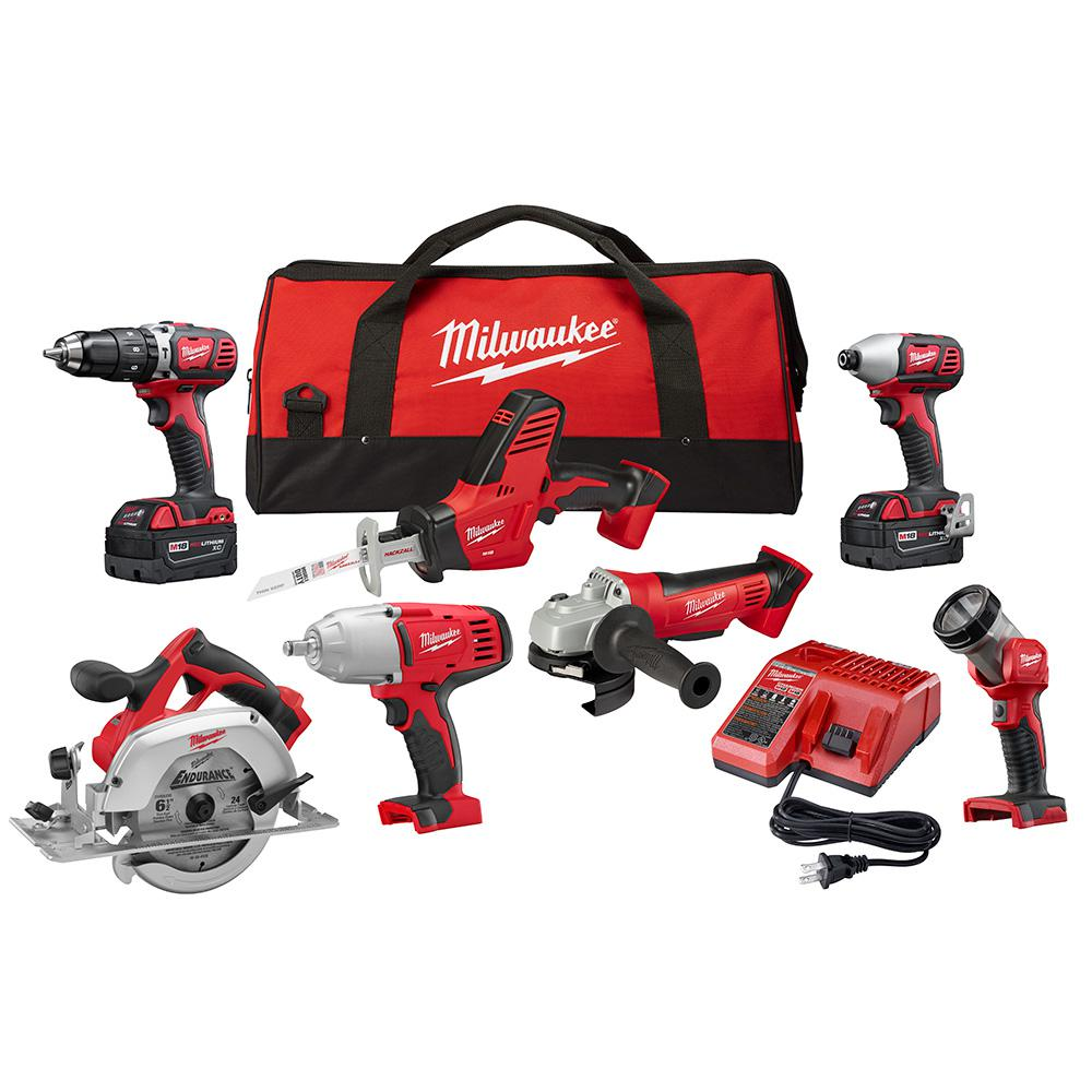 Milwaukee M18 18-Volt Lithium-Ion Cordless Combo Kit (7-Tool) with Two  3.0Ah Batteries, 1 Charger, 1 Tool Bag-2694-27 - The Home Depot