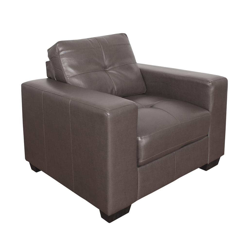 CorLiving Club Tufted Brownish Grey Bonded Leather Chair
